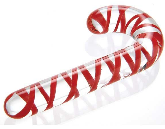 Adam & Eve Candy Cane Glass Dildo, glass dildo